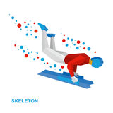 Winter sports - skeleton. Cartoon sportsman jump on sled (bobsle. Winter sports - skeleton. Cartoon sportsman in white and red jump on sled (bobsled). Flat style Royalty Free Stock Image