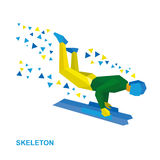 Winter sports - skeleton. Cartoon sportsman jump on sled (bobsle. Winter sports - skeleton. Cartoon sportsman in yellow and green jump on sled &#x28 Royalty Free Stock Image