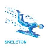 Winter sports - skeleton. Cartoon sportsman jump on sled (bobsled) Stock Photography