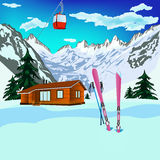 Winter sports ski. Rest in Alpine resorts Royalty Free Stock Image