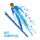 Winter sports: ski jumping. Cartoon skier during a jump. Royalty Free Stock Photo