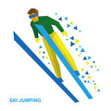 Winter sports: ski jumping. Cartoon skier during a jump. Winter sports - ski jumping. Cartoon skier in green and yellow during a jump. Flat style vector clip Stock Photos