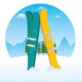 Winter sports ski and snowboard equipment. Vector illustration graphic design Royalty Free Stock Photos