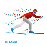 Winter sports - Skiing. Cartoon skier running. Athlete in red and white runs on skis. Flat style vector clip art isolated on white background Stock Photography