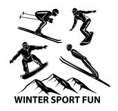 Winter Sports. Skiing, ski jumping and snowboarding sportmen silhouettes stock illustration