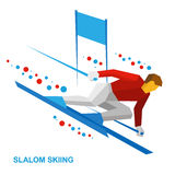 Winter sports - slalom skiing. Sportsman ski slope down. Royalty Free Stock Images