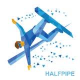 Winter sports - snowboard halfpipe. Cartoon snowboarder performs Royalty Free Stock Photo