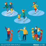 Winter sports snowboarder ice skaters flat isometric vector 3d. Winter sports young happy people family activity icon set flat 3d isometry isometric concept web Royalty Free Stock Photography