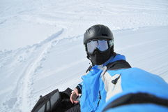 Winter sports (snowboarder portrait) stock photography