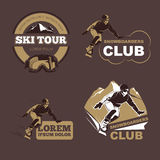 Winter sports, snowboarding and skiing club vector emblems, labels, badges, logos set Stock Images