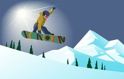 Snowboarder doing grab jump. Winter sports - Snowboarding. Vector illustration of a snowboarder in action on a sunny mountain background Royalty Free Stock Photo