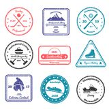 Winter Sports Stamps. Of various shape with skiing, biathlon, hockey, curling, figure skating, snowboarding isolated vector illustration Stock Image