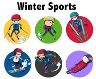Winter sports sticker design with athletes on different equipmen. Ts illustration Stock Image