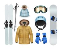 Winter sports stuff. And apparel: brown coat with fur hood, pants, gloves, knitted cap, goggles, helmet, ski, sticks, snowboard front view isolated on white Royalty Free Stock Photo