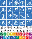 Winter Sports Symbols. Set of 20 pictograms of the Olympic winter sports, in 3 versions. No transparency and gradients used Stock Photography