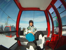 Winter sports transportation - cable car royalty free stock photos
