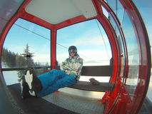 Winter sports transportation - cable car royalty free stock photo