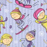 Winter sports, vector cartoon sportsmen seamless Royalty Free Stock Image