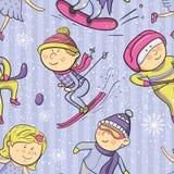 Winter sports, vector cartoon sportsmen seamless. Winter sports, vector ilustration with cartoon sportsmen seamless pattern Royalty Free Stock Image
