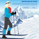 Winter sports vector illustration with girl in mountains ski resort Royalty Free Stock Photography