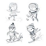 Winter sports, vector sketch sportsmen. Winter sports, vector ilustration, black-white sketch sportsmen Royalty Free Stock Photography