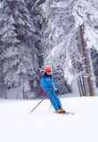Winter sports woman skiing Royalty Free Stock Photo
