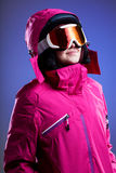 Winter sportswoman in pink Stock Photography