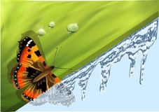 Winter and spring. Abstract background with butterfly. 10 EPS royalty free stock photo