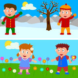 Winter & Spring Kids Banner. Two banners with kids for winter and spring. Eps file available Royalty Free Stock Images