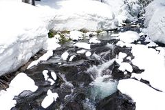 Winter Spring melt. Deep snow melts and runs off in river as new spring vegetation peeks out from beneath snow Stock Image