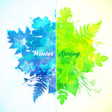 Winter and spring season watercolor illustration Royalty Free Stock Photo