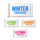 Winter, spring, summer and autumn trends labels Royalty Free Stock Photos