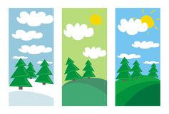 Winter, spring and summer landscape with trees. 3 landscapes with trees and clouds at sunny day in summer, spring and winter. Vector illustration isolated stock illustration