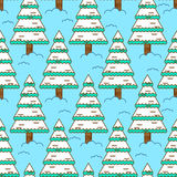 Winter spruce seamless pattern. Fir forest in winter ornament.   Royalty Free Stock Photo