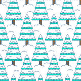 Winter spruce seamless pattern. Fir forest in winter ornament.. Christmas tree in snow texture Stock Image
