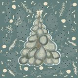 Winter Spruce Tree with winter elements and doodles. Vector Illu Stock Photography
