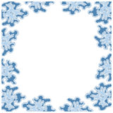 Winter square border. Winter theme square frame in white and blue Stock Photos