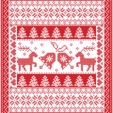 Winter square  pattern in cross stitch style with Christmas bell,  tree, reindeer, heart, snowflake, stars, decorative ornaments. Scandinavian style and Nordic Stock Images