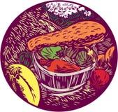Winter Squash Pumpkin Oval Woodcut Stock Image