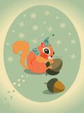 Winter squirrel on snow with acorn. Vector winter squirrel with hat and acorn. Christmas card Royalty Free Stock Photos