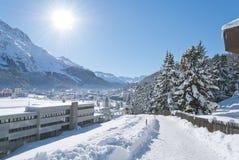 Winter in St. Moritz. Winter landscape in St. Moritz (German: Sankt Moritz; Italian: San Maurizio), a resort town in the Engadine valley in Switzerland Royalty Free Stock Photo