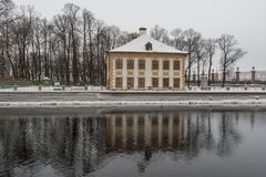 Winter in St. Petersburg. Summer Palace of Peter I. Embankment of the Fontanka River. Russia royalty free stock photography
