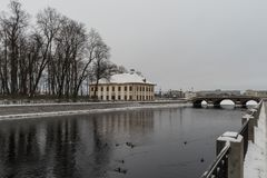 Winter in St. Petersburg. Summer Palace of Peter I. Embankment of the Fontanka River. Russia stock images