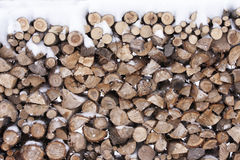 Winter Stack of Wood Royalty Free Stock Images