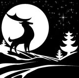 Winter Stag Illustration Royalty Free Stock Images