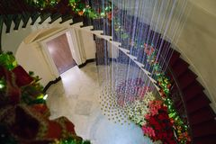 Winter Staircase in a Nashville Mansion royalty free stock image