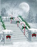 Winter stairs. Fantasy scenery with stairs and candy canes Stock Photo