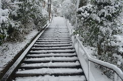 Winter Stairs in Japan Royalty Free Stock Photo