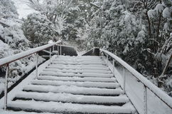 Winter Stairs in Japan Stock Photos