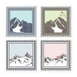 Winter stamps. Set of postal stamps with winter nature scenes, mountains and snowy hills. Vector illustration Stock Image